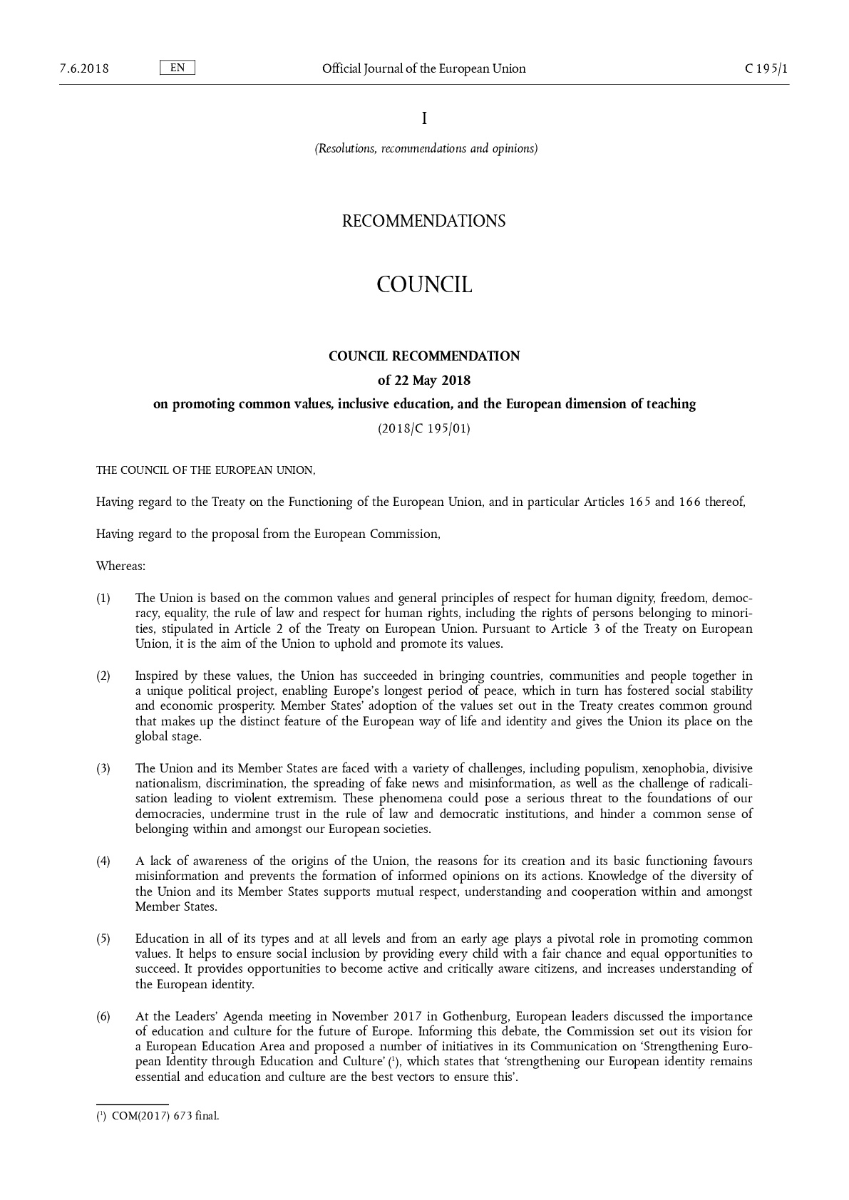 COUNCIL RECOMMENDATION of 22 May 2018 on promoting common values, inclusive education, and the European dimension of teaching (2018/C 195/01)