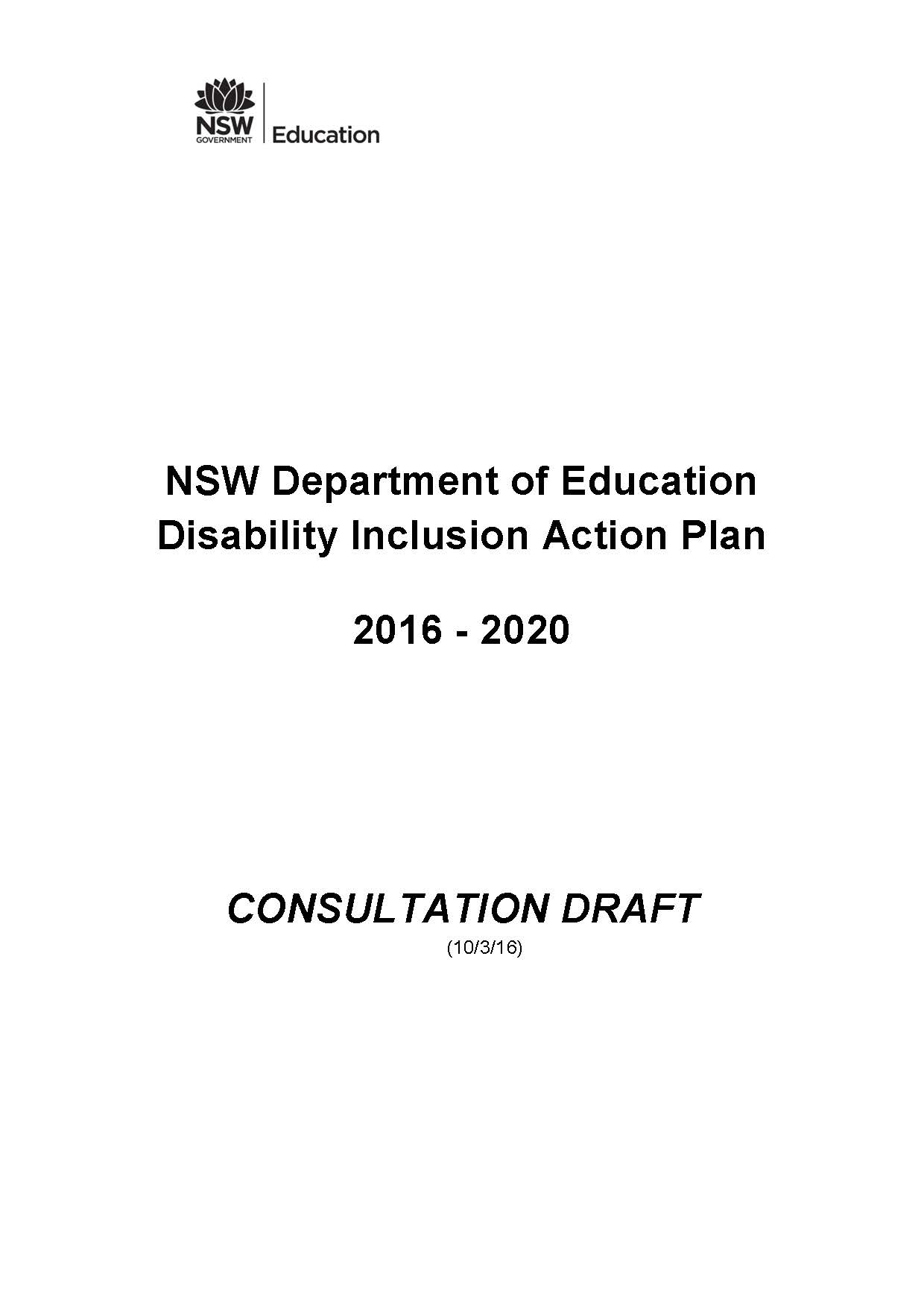 NSW Department of Education Disability Inclusion Action Plan
