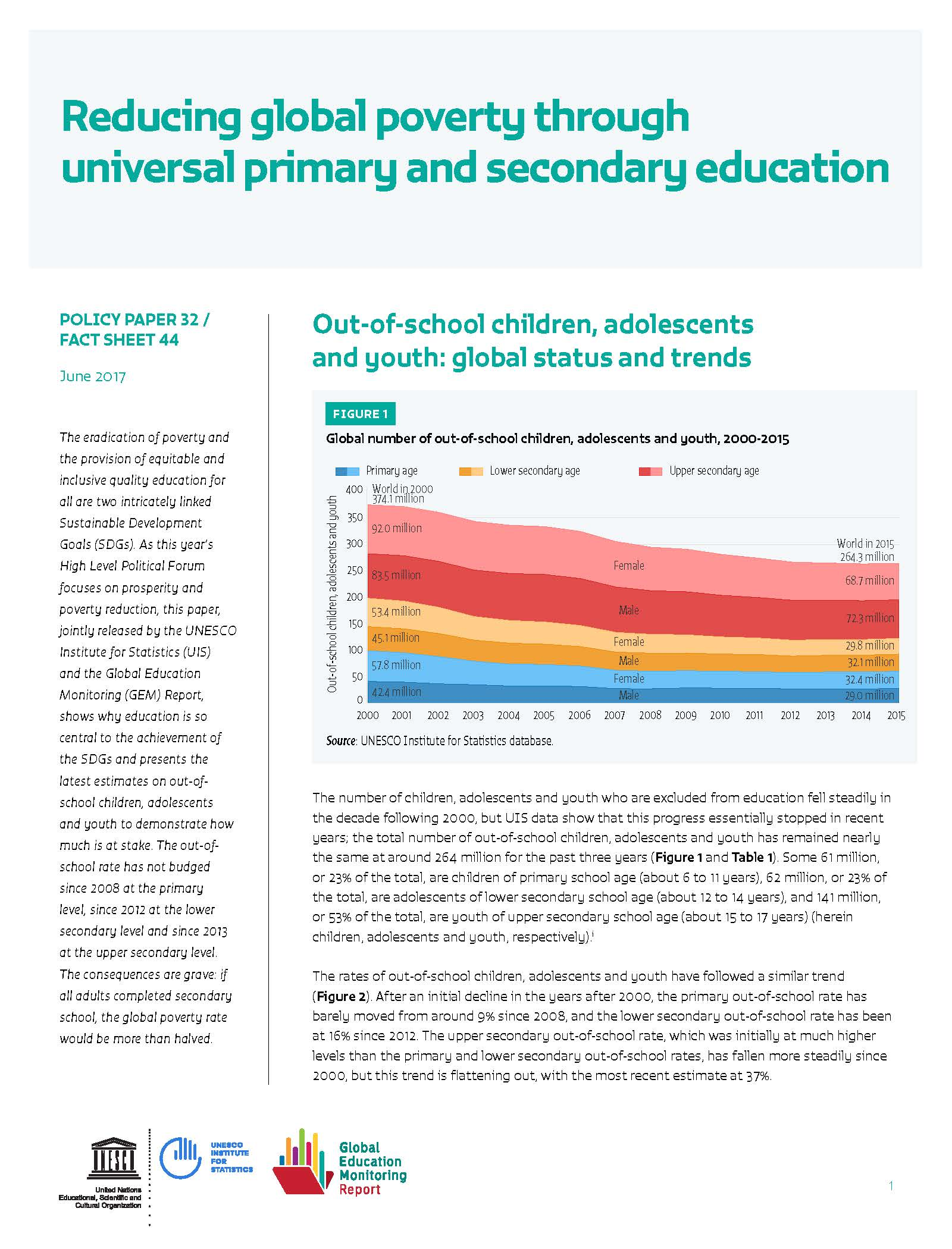 Reducing global poverty through universal primary and secondary education