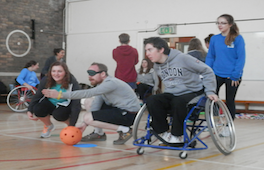 Students taking part in an inclusive physical education lesson