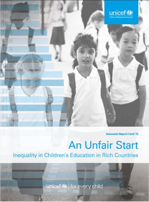 Black and White cover of 3 children with school uniforms holding hands and blue title and logo