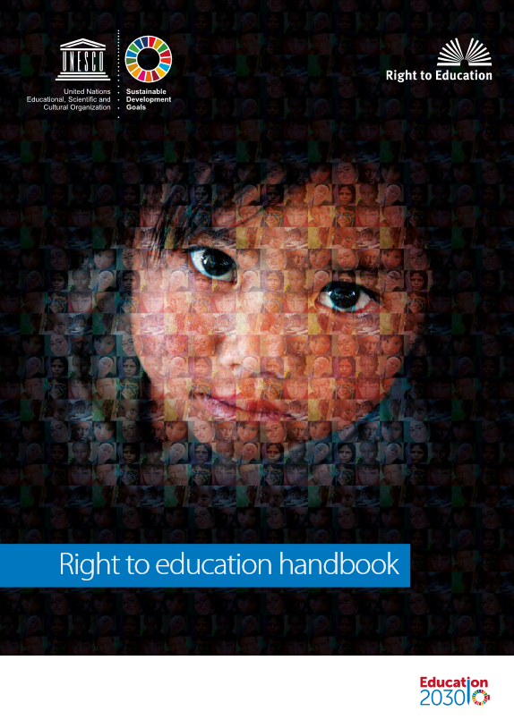 Picture of a child composed of multiple picture and the UNESCO logos and the title of the handbook