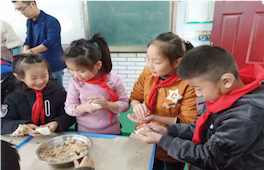 Chinese children making food