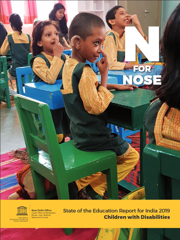 "Kids in a classroom that are pointing to their Nose and the Caption says ""N"" for Nose."